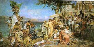 Фрина на празднике Посейдона в Элевсине / худ. Г. Семирадский