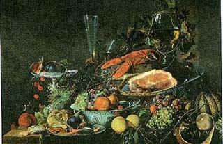 Натюрморт с фруктами и омаром / худ. Д. де Геем