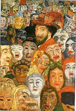 Автопортрет с масками / худ. Д. Энсор