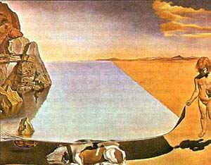 Шестилетний Дали, воображающий себя маленькой девочкой, которая поднимает кожу моря, чтобы увидеть собаку, спящую в морской тени / худ. С. Дали